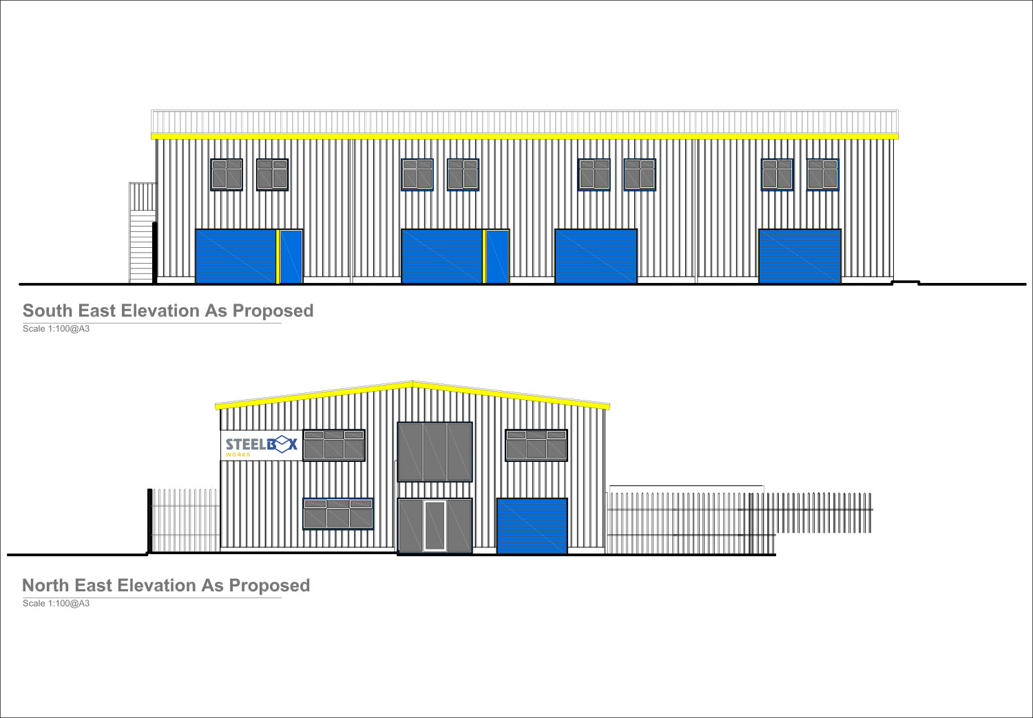 North and South East Elevation Plans - Steelbox Works